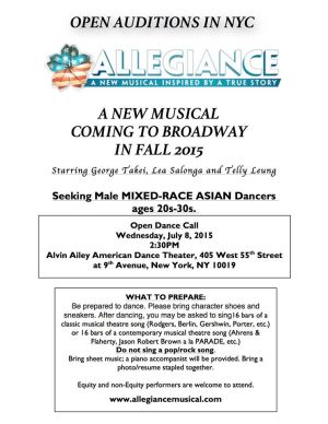 George Takei's Musical 'Allegiance' Casting Notice in NYC